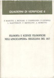 """Filosofia e scienze filosofiche nell' """"Enciclopedia"""" hegeliana  del 1817"""