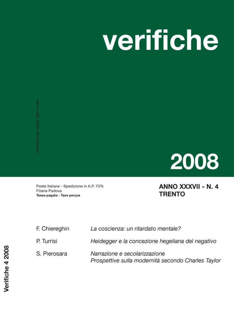 Verifiche Anno XXXVII, N. 4, 2008