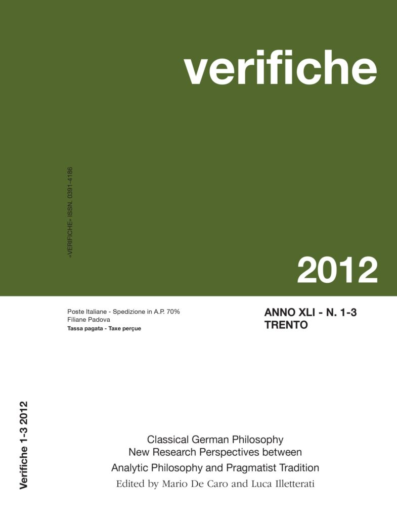 Classical German Philosophy New Research Perspectives between Analytic Philosophy and Pragmatist Tradition