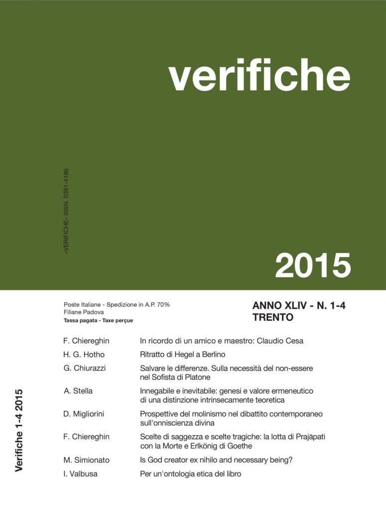 Verifiche, Anno XLIV, N. 1-4, 2015