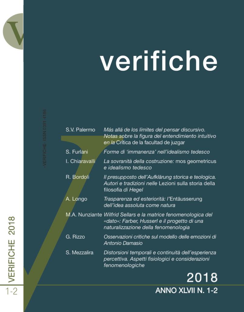 Verifiche, Anno XLII, N. 1-2, 2018